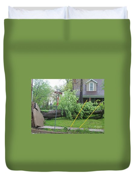 Duvet Cover featuring the photograph Raised Sidewalks by Kelly Awad