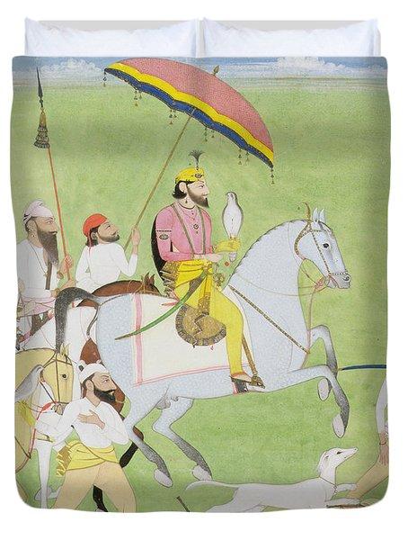 Rajah Dhian Singh Hunting Duvet Cover by Indian School