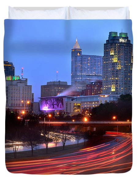 Duvet Cover featuring the photograph Raleigh Skyline At Dusk Evening Color Evening Panorama North Carolina Nc by Jon Holiday