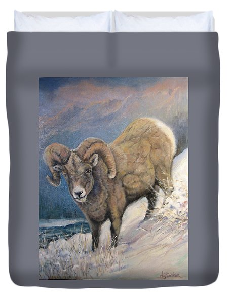 Duvet Cover featuring the painting Ram In The Snow by Donna Tucker