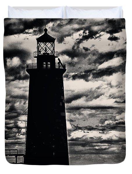 Ram Island Ledge Light Duvet Cover by Karol Livote