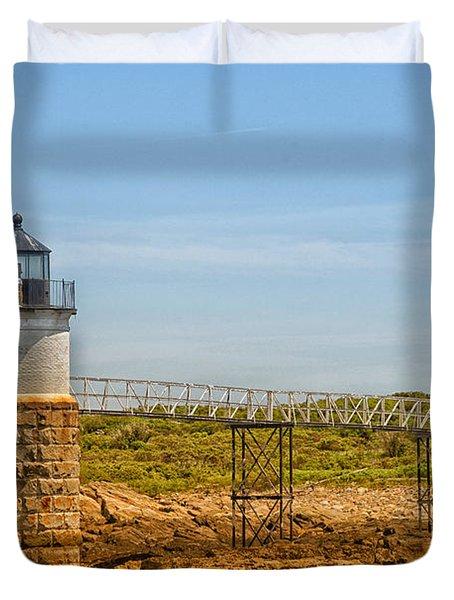 Ram Island Lighthouse Duvet Cover by Karol Livote