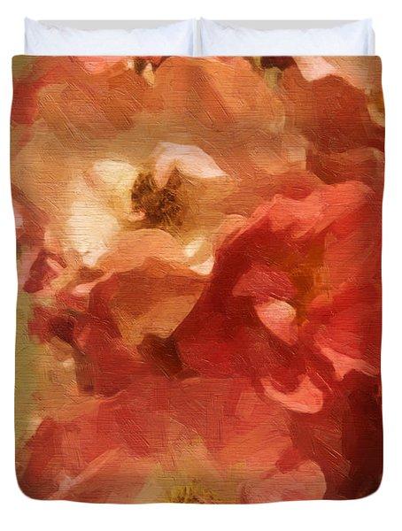 Duvet Cover featuring the digital art Ramblin Rose Memories by Lianne Schneider