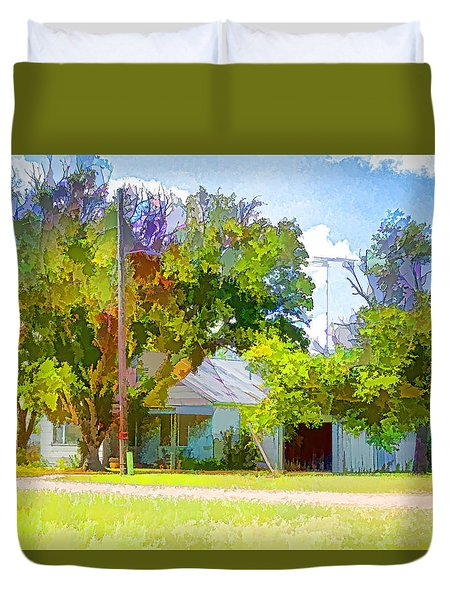 Ranch House Painting Duvet Cover
