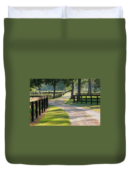 Ranch Road In Texas Duvet Cover by Connie Fox