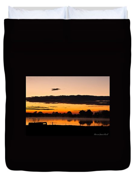 Duvet Cover featuring the photograph Rancher's Sunrise by Steven Reed