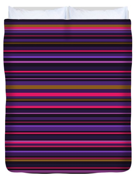 Random Stripes - Purple And Hot Pink Duvet Cover