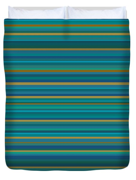 Random Stripes - Teal And Gold Duvet Cover by Val Arie
