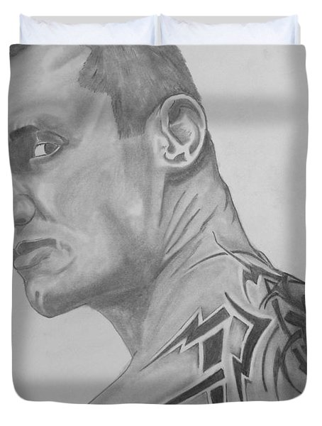 Duvet Cover featuring the drawing Randy Orton by Justin Moore