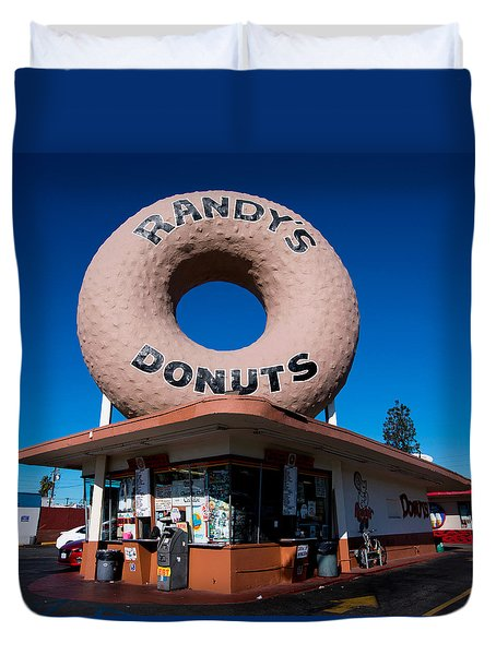 Randy's Donuts Duvet Cover by Stephen Stookey