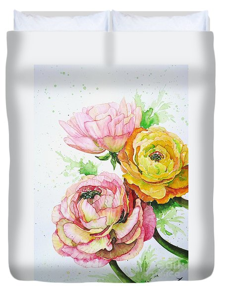Ranunculus Flowers Duvet Cover by Zaira Dzhaubaeva