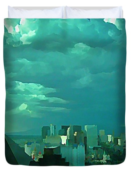 Rare Clouds Over Vegas Duvet Cover by John Malone
