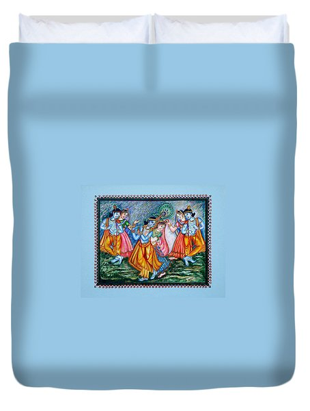 Duvet Cover featuring the painting Ras Leela by Harsh Malik