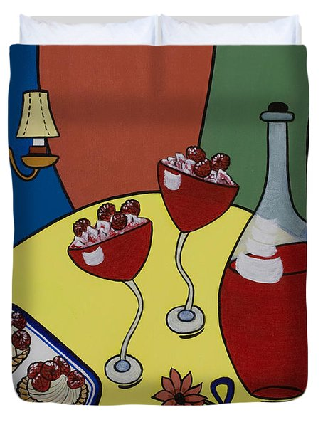 Raspberry Wine Duvet Cover by Barbara McMahon