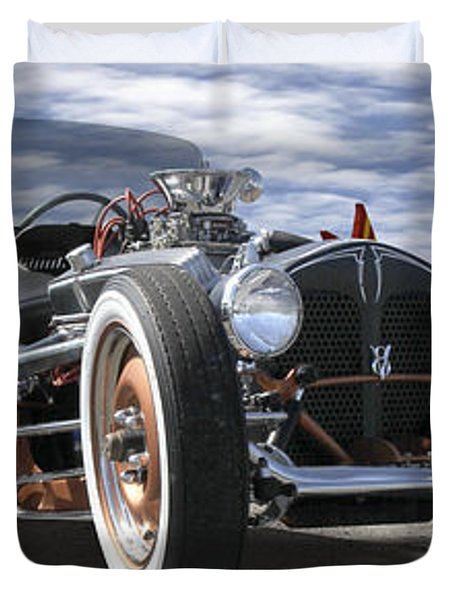 Rat Rod On Route 66 2 Panoramic Duvet Cover
