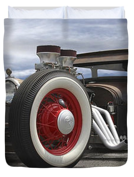 Rat Rod On Route 66 Panoramic Duvet Cover by Mike McGlothlen