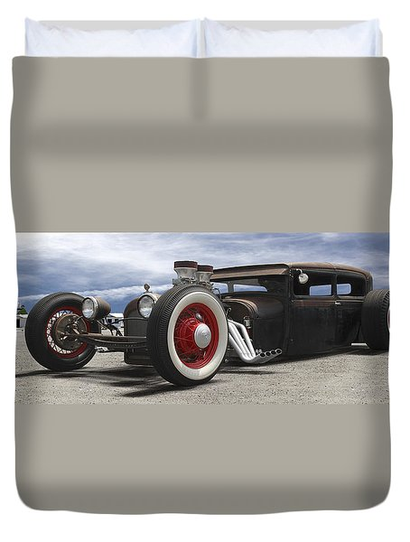 Rat Rod On Route 66 Panoramic Duvet Cover