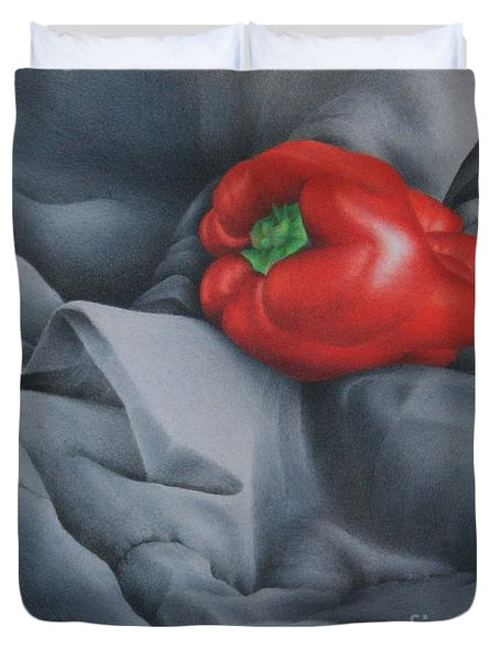 Duvet Cover featuring the painting Rather Red by Pamela Clements