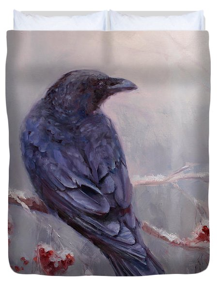 Raven In The Stillness - Black Bird Or Crow Resting In Winter Forest Duvet Cover