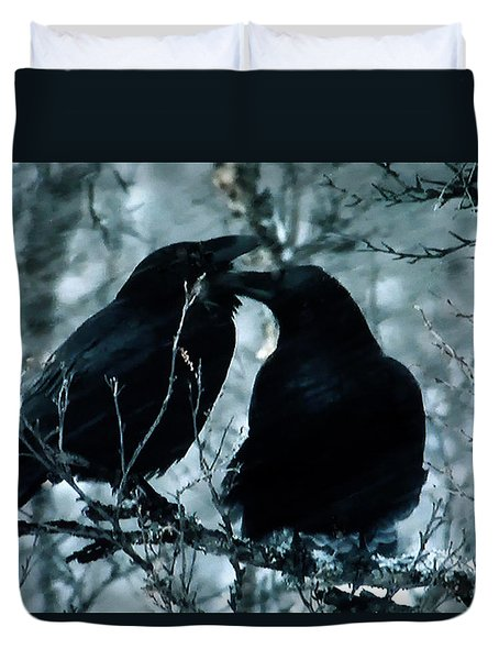 Raven Love Chat Duvet Cover