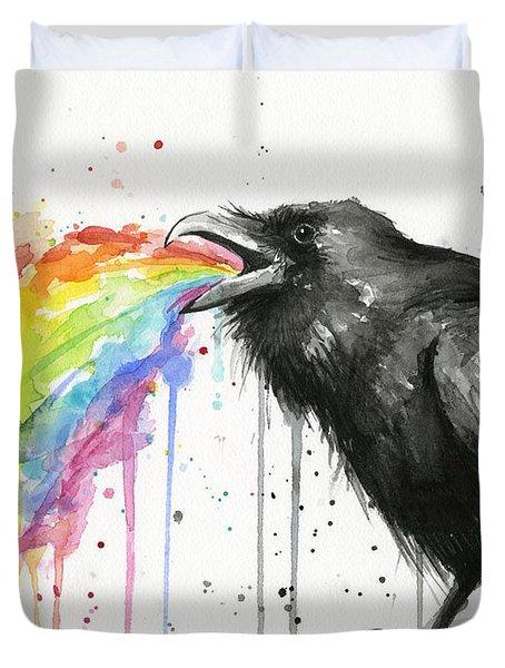 Raven Tastes The Rainbow Duvet Cover