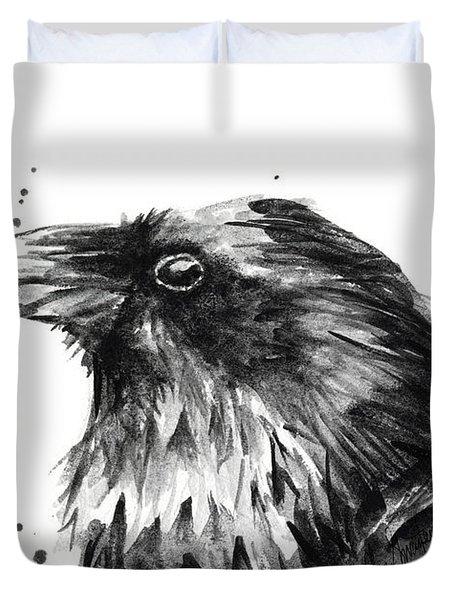 Raven Watercolor Portrait Duvet Cover