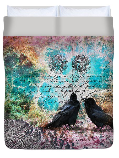 Crow Whispers In The Nowhere Duvet Cover