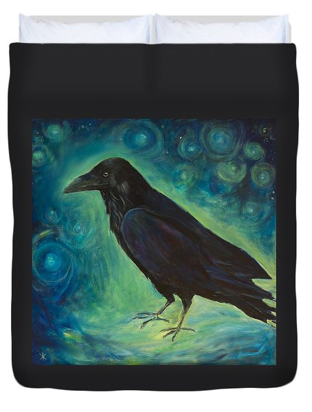 Duvet Cover featuring the painting Space Raven by Yulia Kazansky