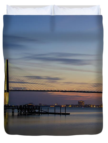 Ravenel Bridge Nightfall Duvet Cover by Dale Powell