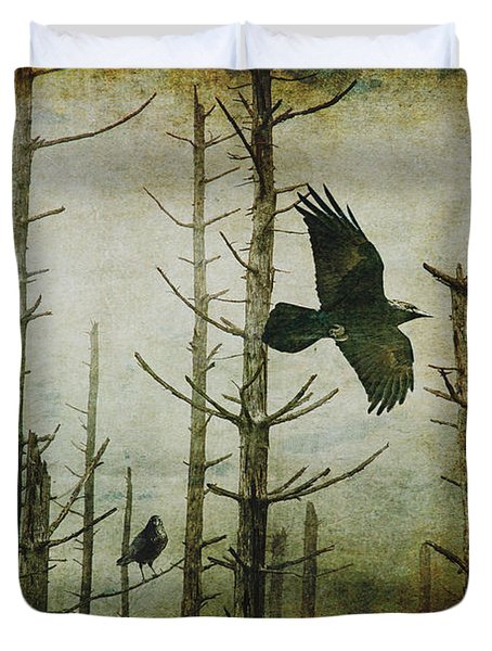 Ravens Of The Mist Artistic Expression Duvet Cover by Randall Nyhof