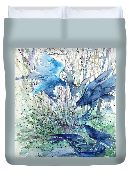 Ravens Wood Duvet Cover by Trudi Doyle