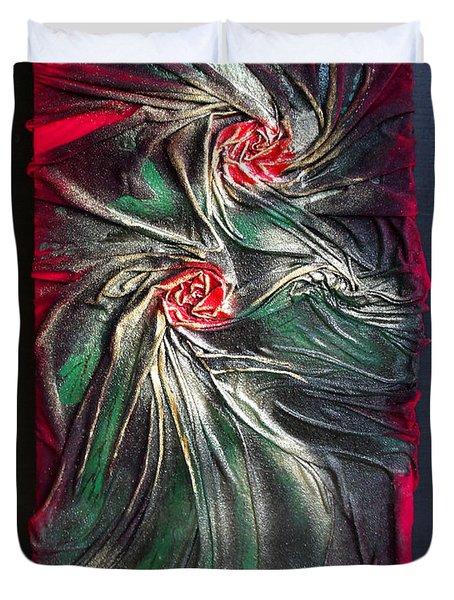 Raw Red Roses Framed Duvet Cover