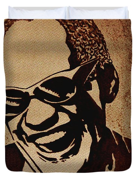 Ray Charles Original Coffee Painting Duvet Cover by Georgeta  Blanaru