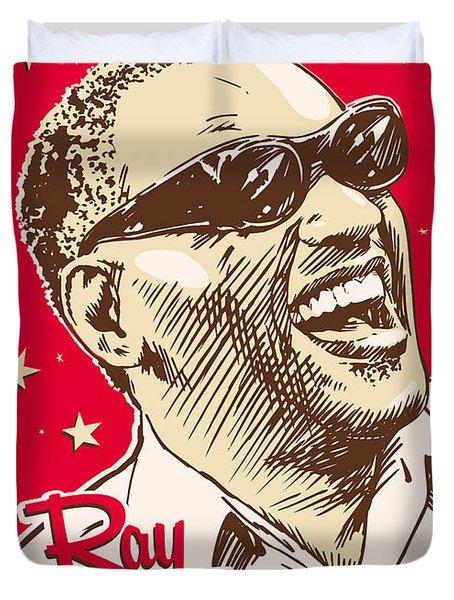 Ray Charles Pop Art Duvet Cover