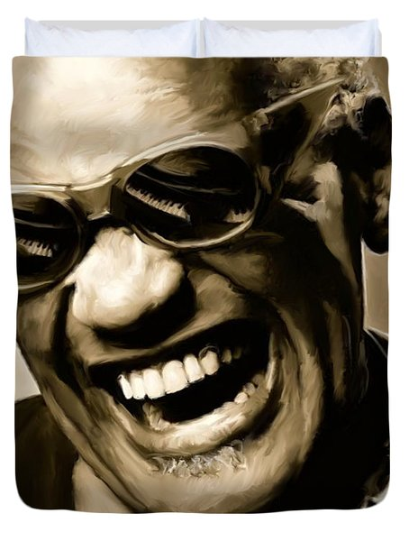 Ray Charles - Portrait Duvet Cover by Paul Tagliamonte