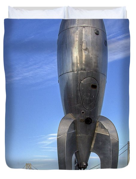 Duvet Cover featuring the photograph Raygun Gothic Rocketship by Kate Brown