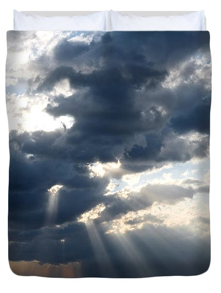 Duvet Cover featuring the photograph Rays And Clouds by Antonio Scarpi