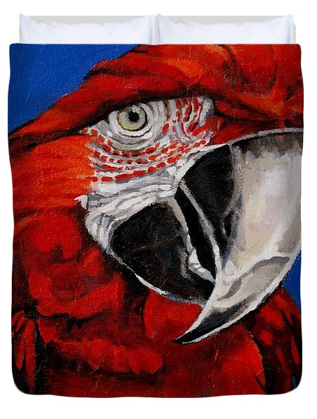 Razzy Red - Bird- Macaw Duvet Cover