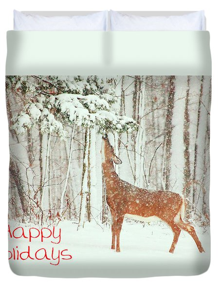 Reach For It Happy Holidays Duvet Cover by Karol Livote