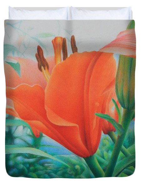 Duvet Cover featuring the painting Reach For The Skies by Pamela Clements