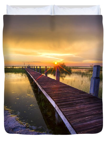 Reaching Into Sunset Duvet Cover by Debra and Dave Vanderlaan