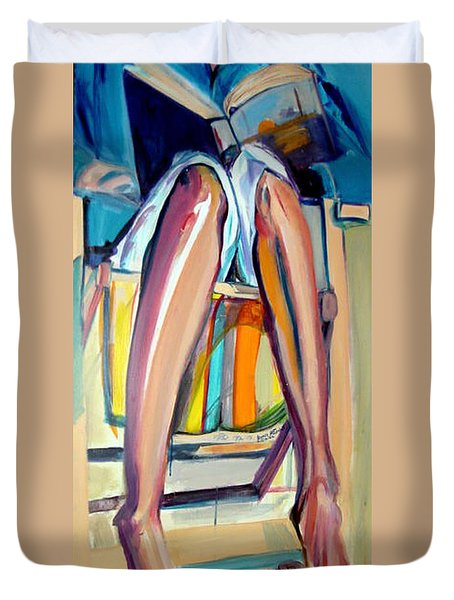 Duvet Cover featuring the painting Read On by Ecinja Art Works