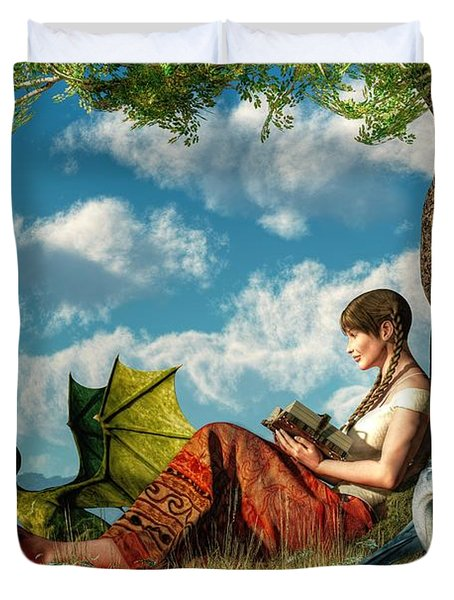 Reading About Dragons Duvet Cover