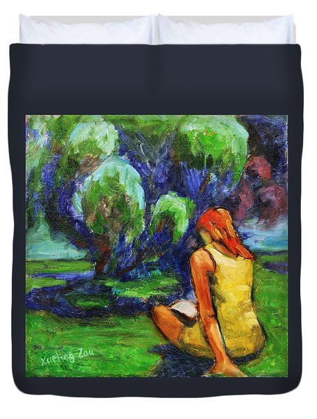 Duvet Cover featuring the painting Reading In A Park by Xueling Zou