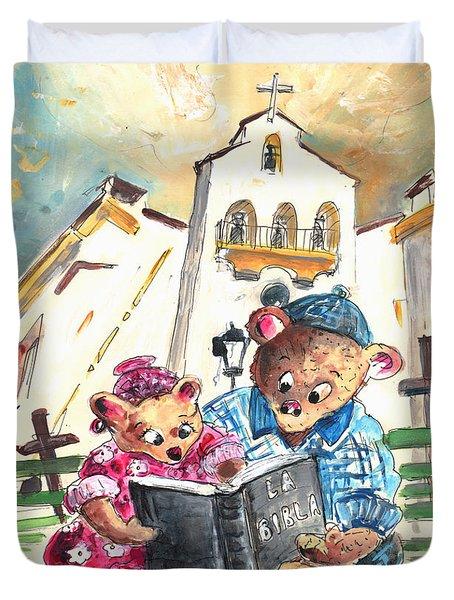 Reading The Bible In La Iruela In Spain Duvet Cover by Miki De Goodaboom