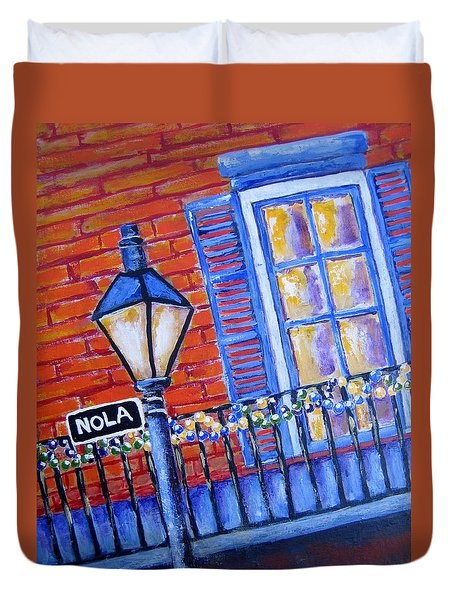 Duvet Cover featuring the painting Ready For Mardi Gras by Suzanne Theis