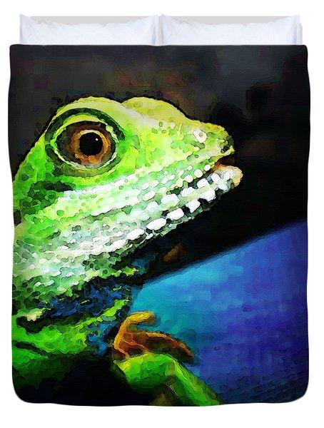 Ready To Leap - Lizard Art By Sharon Cummings Duvet Cover by Sharon Cummings