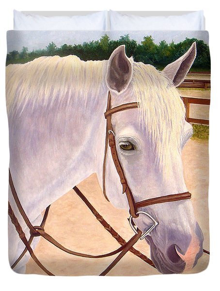 Duvet Cover featuring the painting Ready To Ride by Karen Zuk Rosenblatt