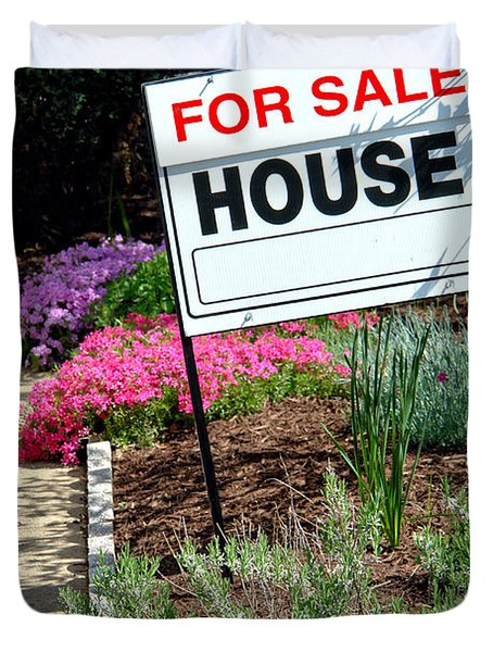 Real Estate For Sale Sign And Garden Duvet Cover