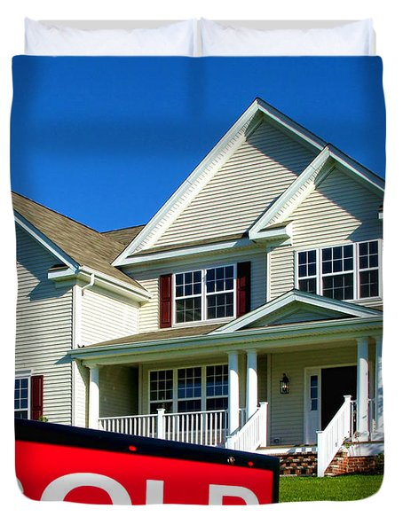 Real Estate Realtor Sold Sign And House For Sale Duvet Cover